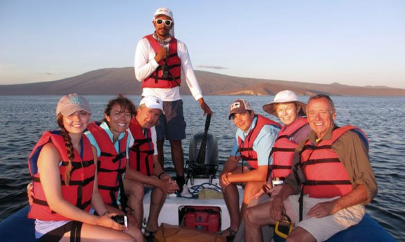 Galapagos Tourists in a boat