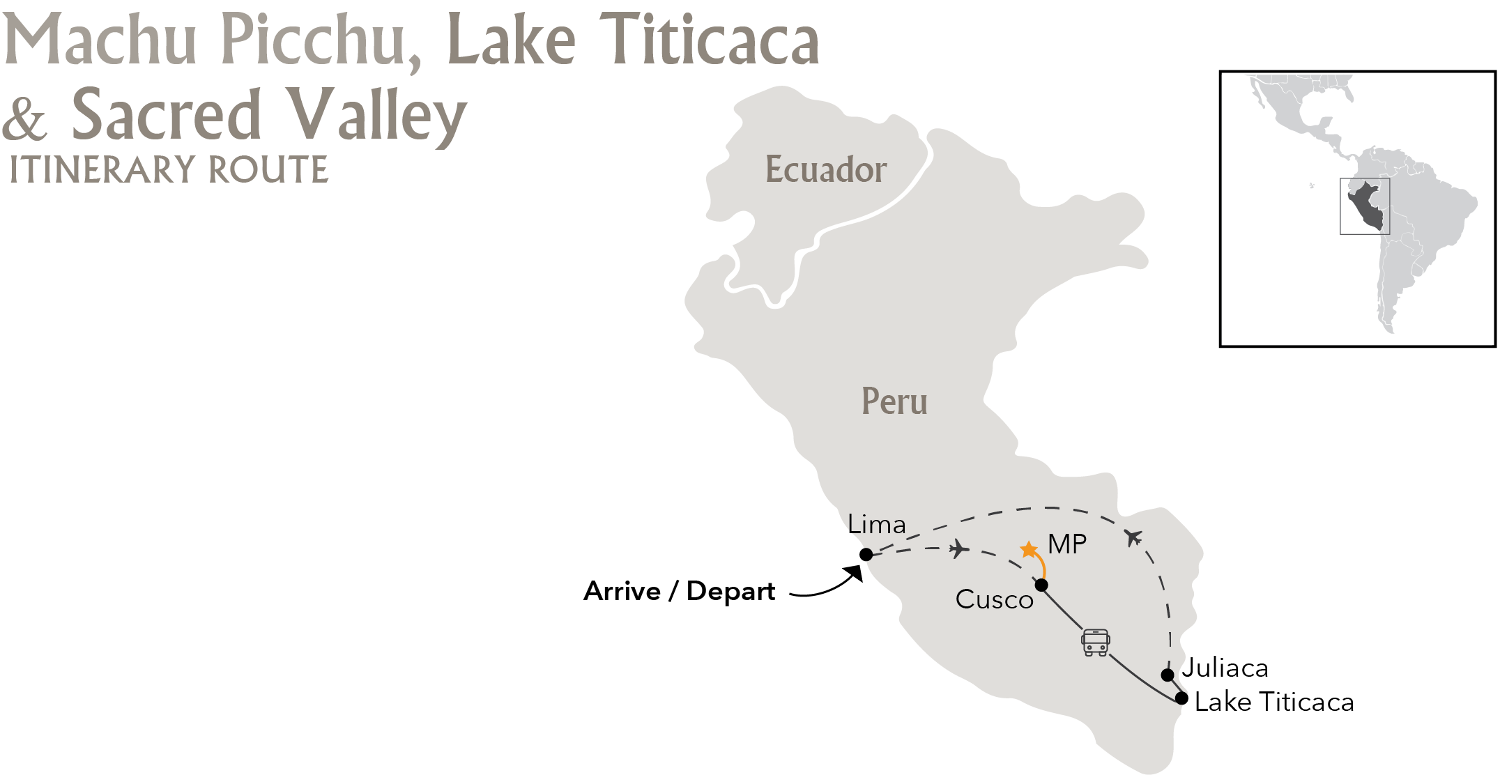 Machu Picchu, Sacred Valley & Lake Titicaca Itinerary Route